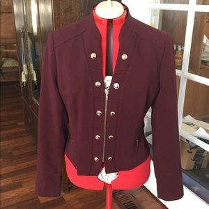 Burgundy WHBM Military-style Jacket